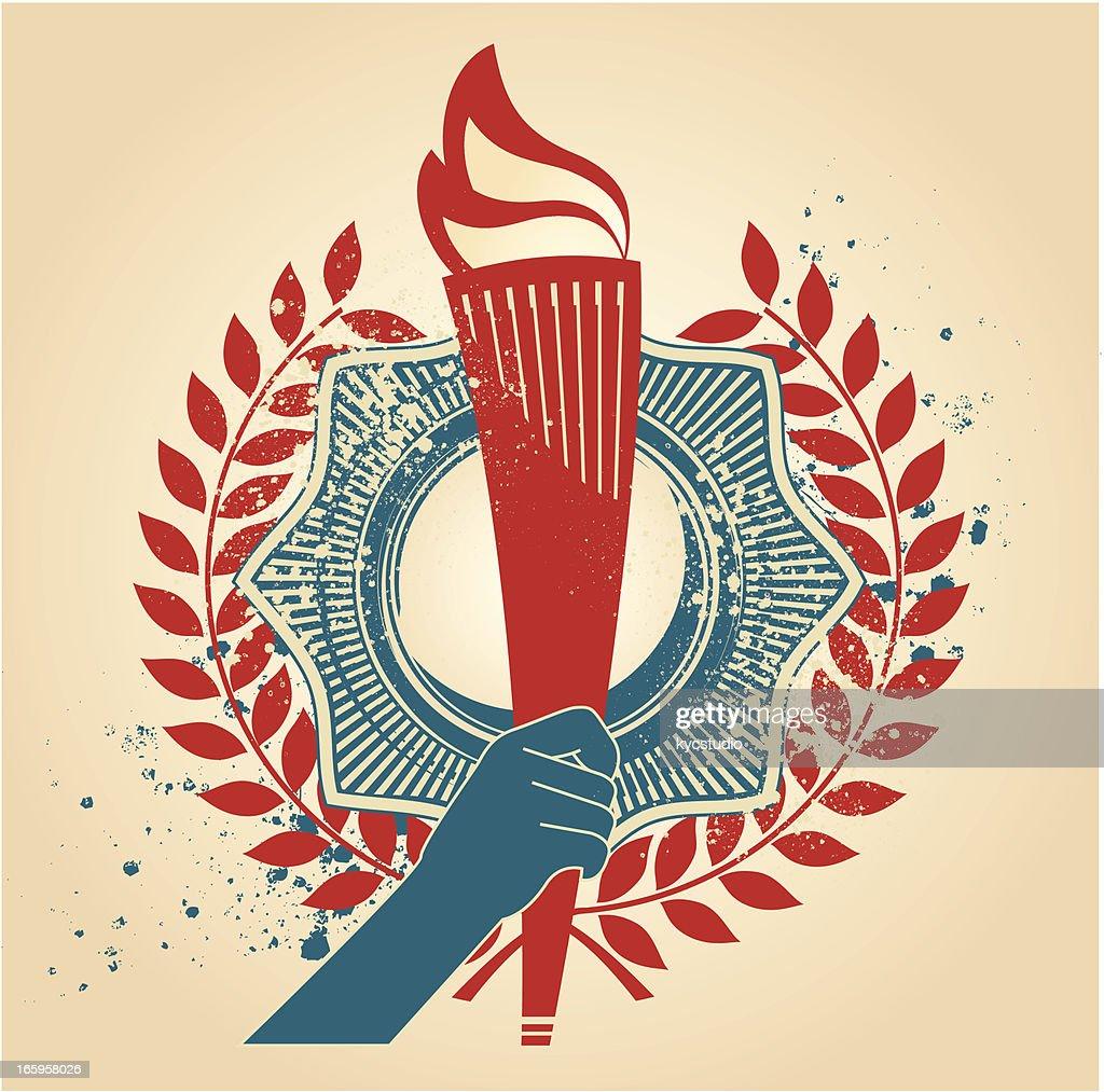 . torch emblem : stock illustration