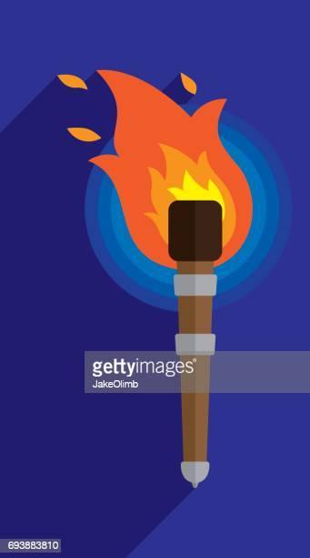 ilustrações, clipart, desenhos animados e ícones de ícone da tocha plana - tocha de fogo