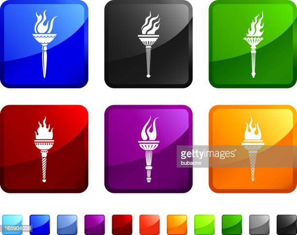 torch royalty free vector icon set stickers - sport torch stock illustrations, clip art, cartoons, & icons