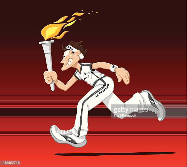 torch runner - sport torch stock illustrations, clip art, cartoons, & icons