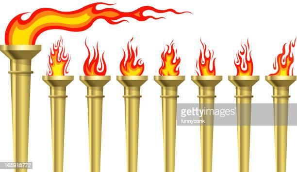ilustrações, clipart, desenhos animados e ícones de conjunto de tocha - tocha de fogo