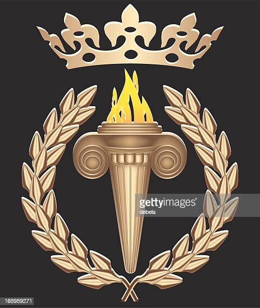 . torch with crown - sport torch stock illustrations, clip art, cartoons, & icons