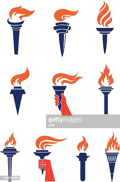 torches - the olympic games stock illustrations