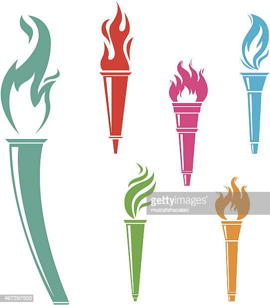 torches - sport torch stock illustrations, clip art, cartoons, & icons