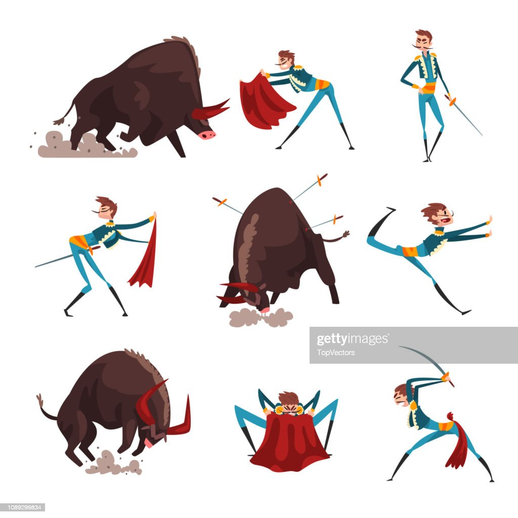 Toreador with red cape and sword fighting with furious black bull set, bullfighting, corrida performance vector Illustration on a white background