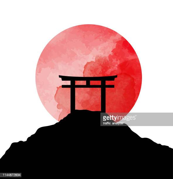 stockillustraties, clipart, cartoons en iconen met torii poorten - japan