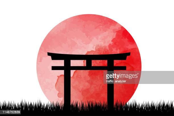 ilustraciones, imágenes clip art, dibujos animados e iconos de stock de torii gates - japón