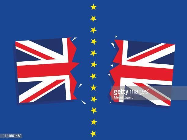 illustrations, cliparts, dessins animés et icônes de drapeau déchiré du royaume-uni. brexit - brexit