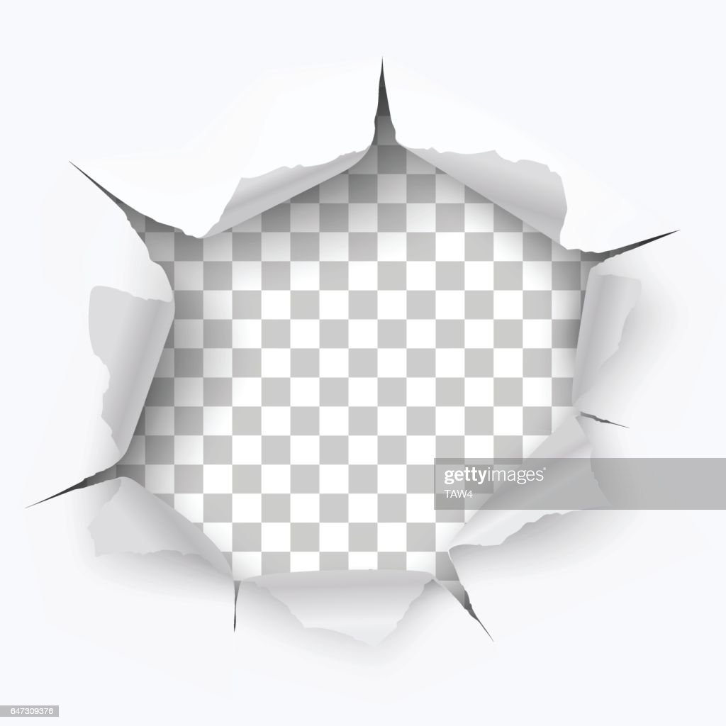 Torn hole and ripped of paper on a transparent background