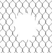 Torn metal mesh