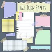 Torn note papers. Vector design element set.
