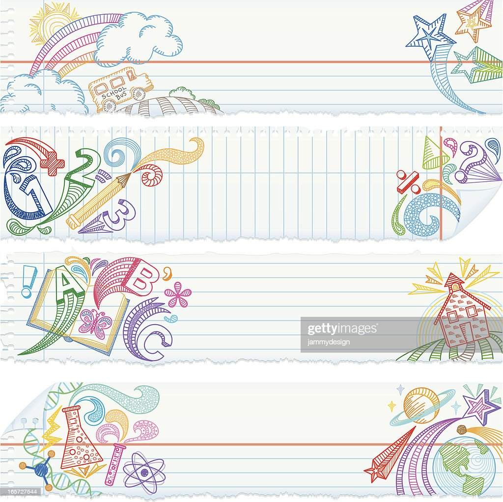 Torn Notebook Paper Banners — School Subjects : stock illustration