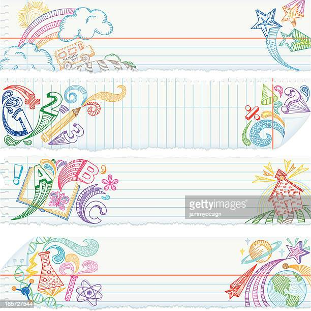 ilustraciones, imágenes clip art, dibujos animados e iconos de stock de rasgado de papel de cuaderno escolar sujetos banners - edificio escolar