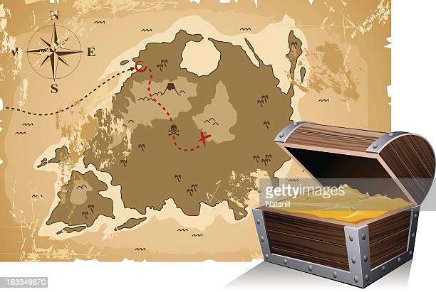 Torn old treasure map with route and destination marked