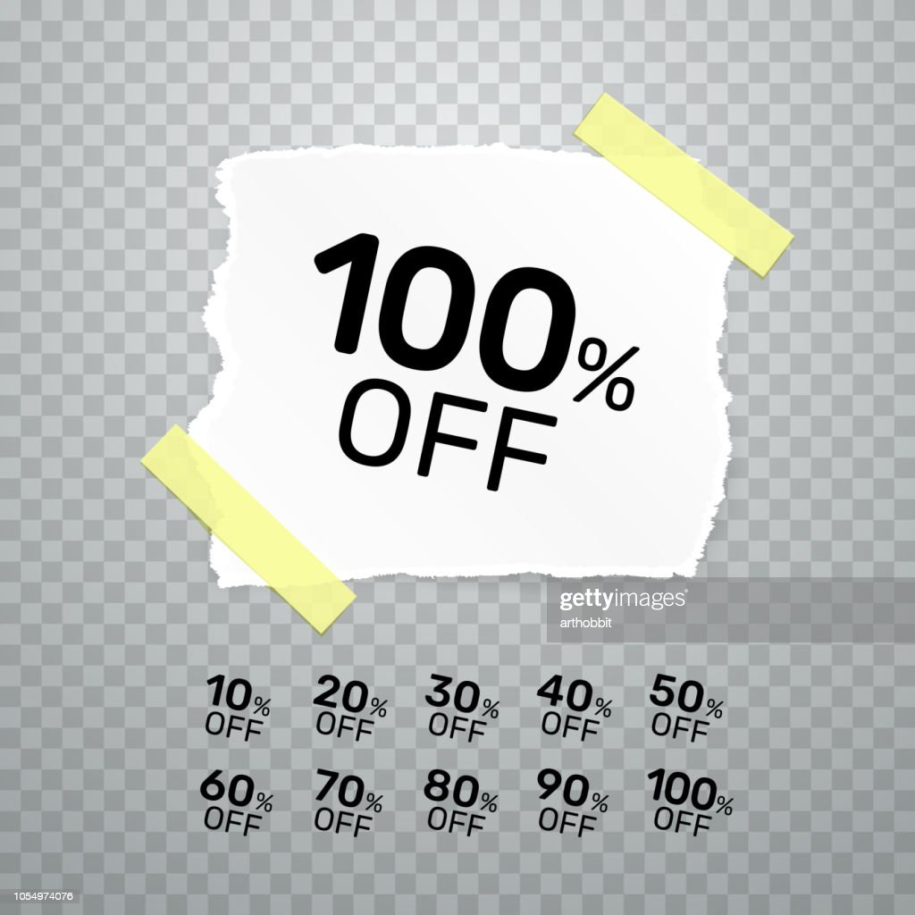 Torn paper banner collection off with share discount percentage. Vector illustration