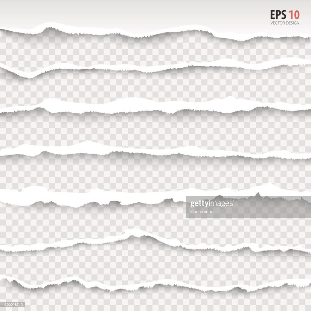 Torn paper edges, horizontally, vector. Realistic torn paper. Torn page banner.