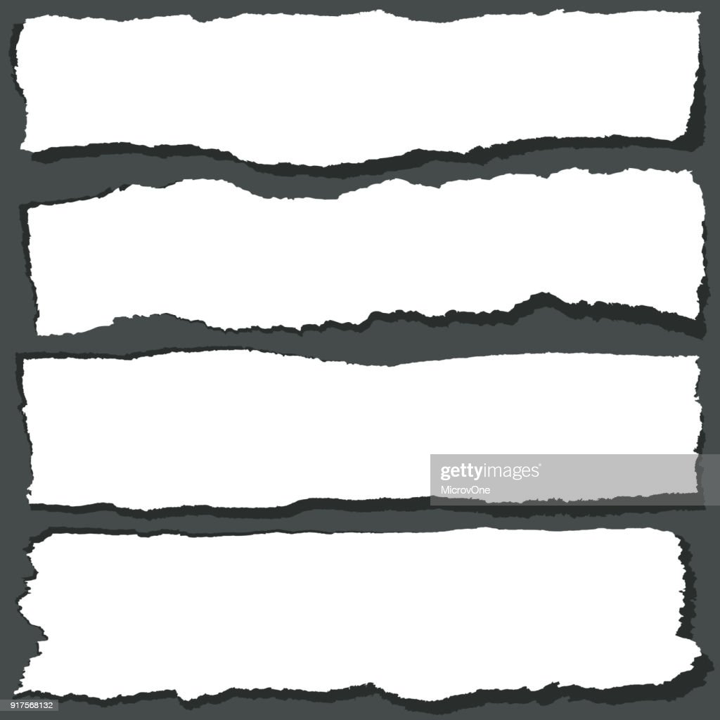 Torn paper ribbons with jagged edges. Abstract grange paper sheets vector set