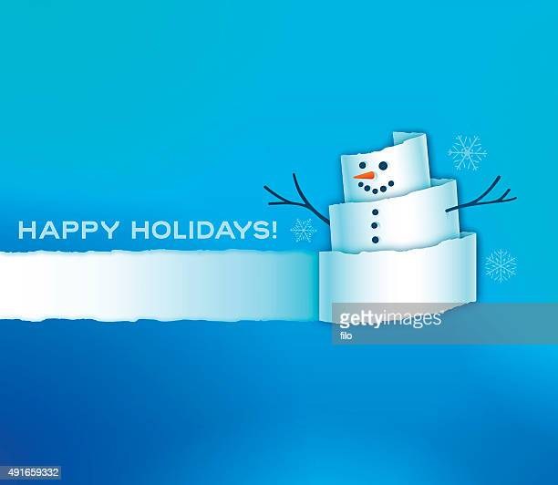 Torn Paper Snowman Holiday Background