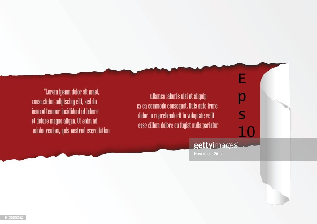 Torn paper template. white paper with torn sides over paper background with space for text. Realistic vector torn paper with ripped edges.Torn paper template.