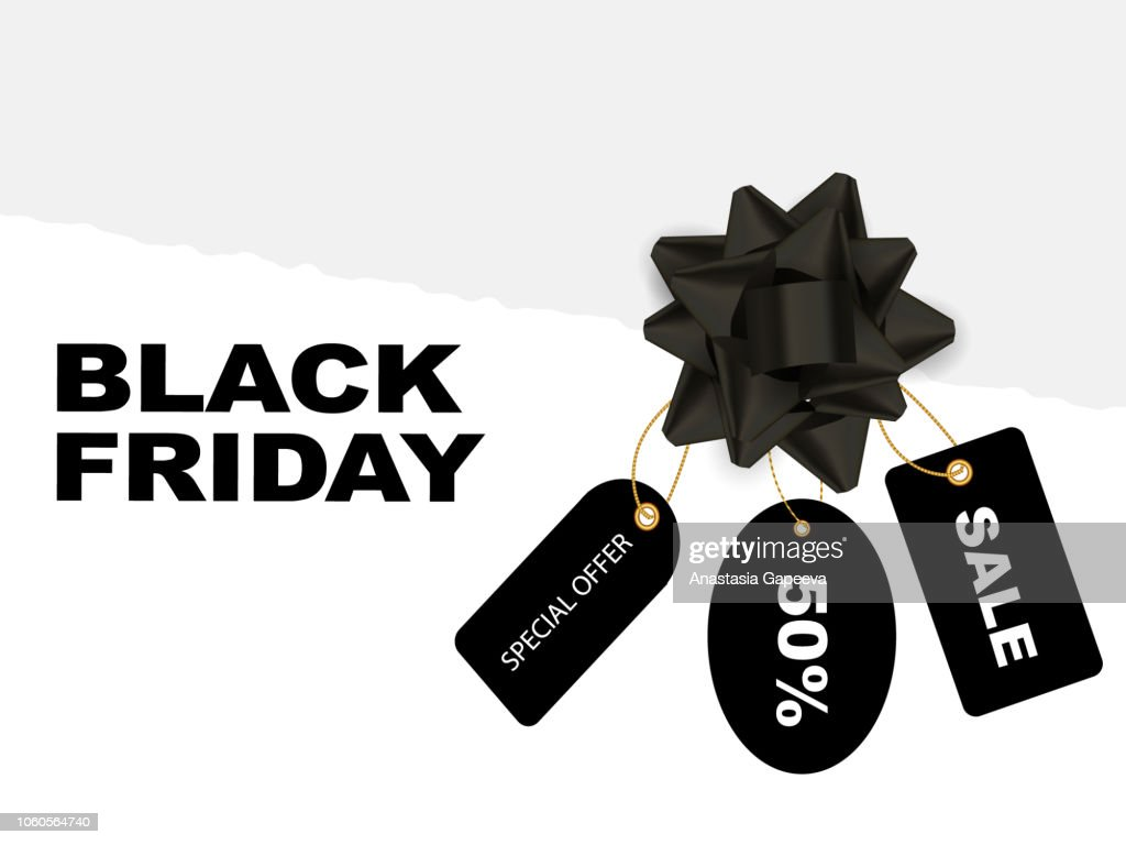 A torn paper with black labels with black bow. Black friday concept. Vector illustration.