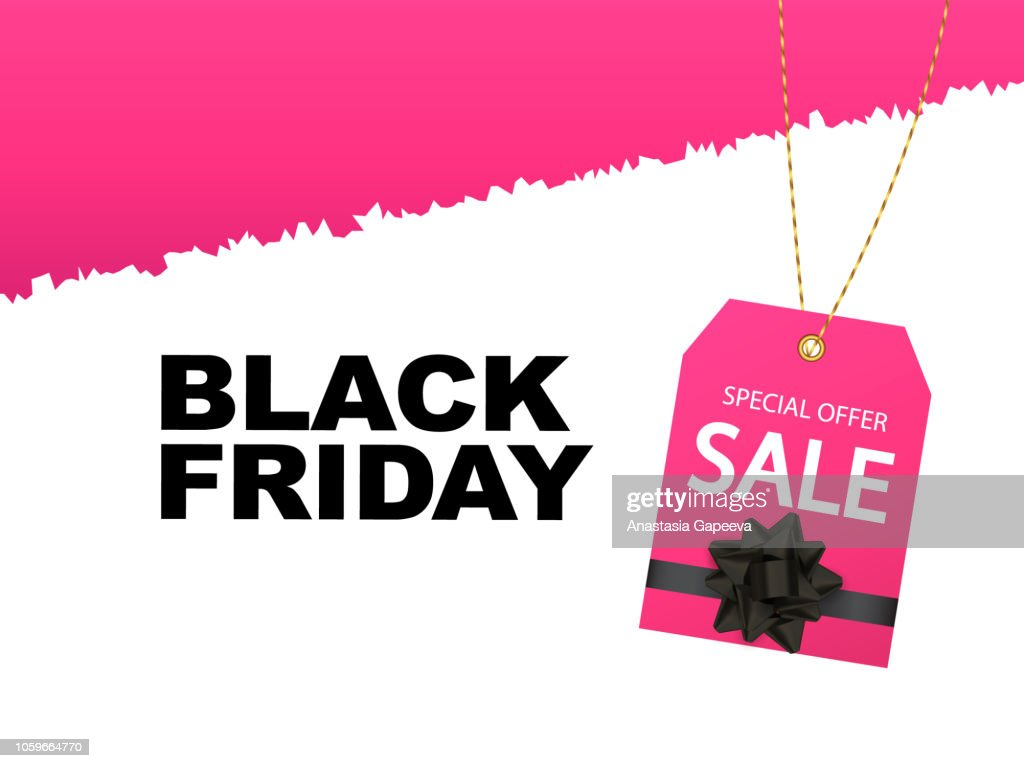 A torn paper with pink label with black bow. Black friday concept. Vector illustration.
