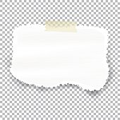 Torn piece of white paper with ripped edges and copyspace, vector illustration