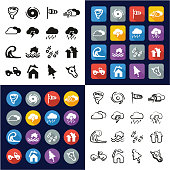 Tornado All in One Icons Black & White Color Flat Design Freehand Set