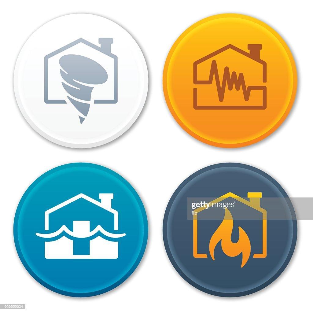 Tornado Earthquake Flood Fire Disaster Symbols