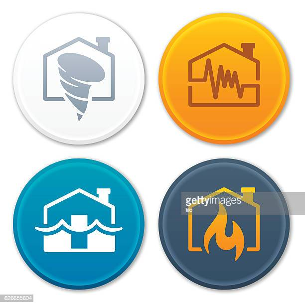 Tornado Earthquake Flood Fire Disaster Symbols