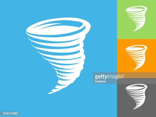 Tornado Flat Icon on Blue Background