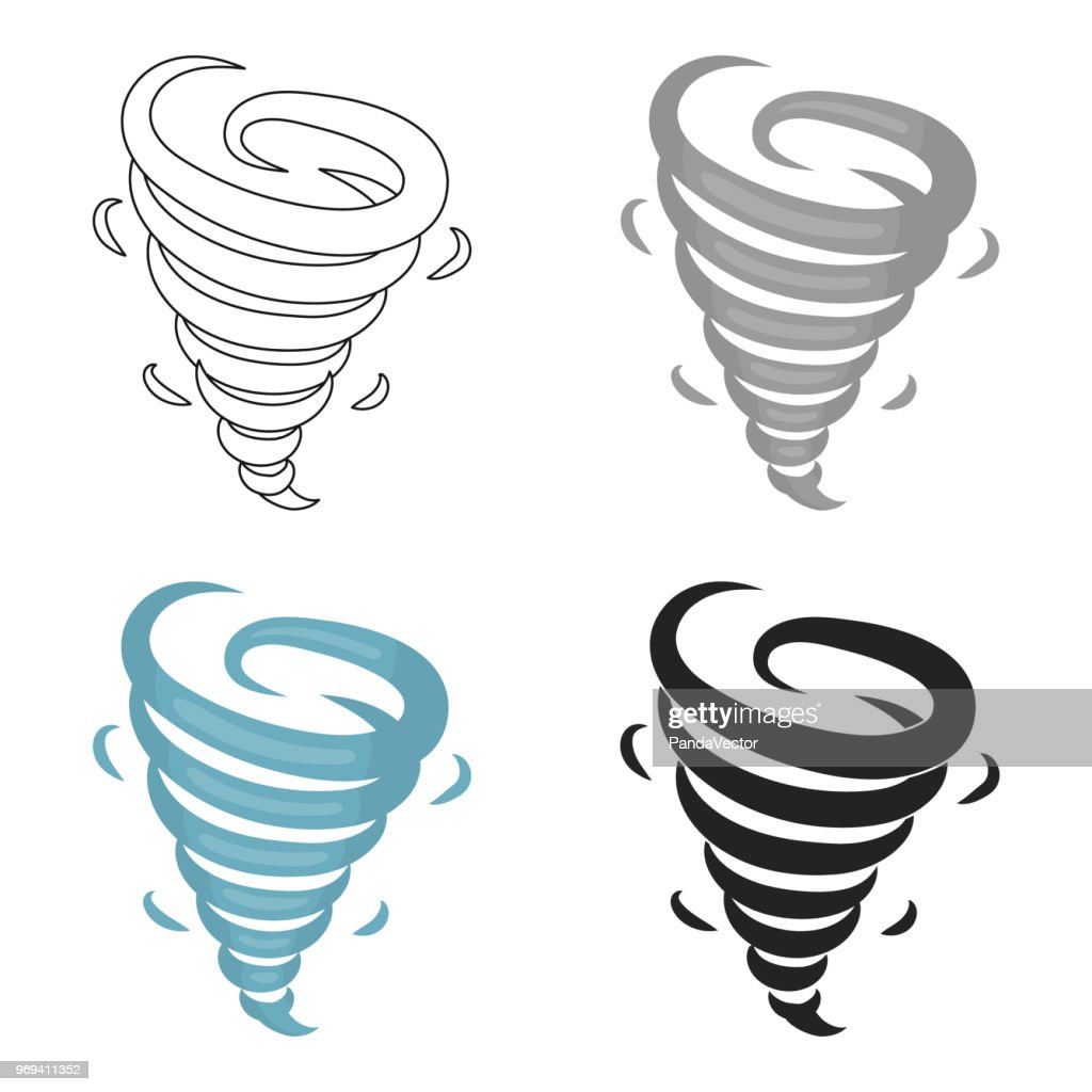 Tornado icon in cartoon style isolated on white background. Weather symbol stock vector web illustration.
