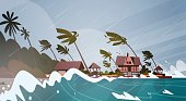 Tornado Incoming From Sea Hurricane In Ocean Huge Waves On Houses On Coast Tropical Natural Disaster Concept