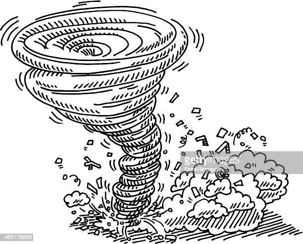 tornado natural disaster drawing - hurricane stock illustrations, clip art, cartoons, & icons
