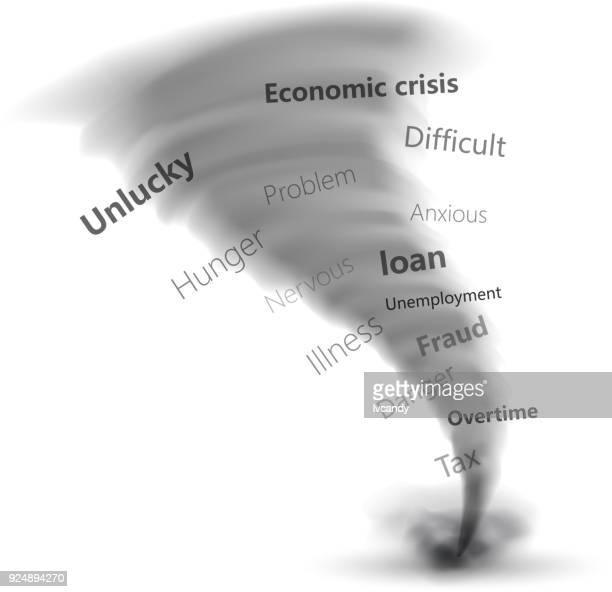 tornado of various problem - bad luck stock illustrations, clip art, cartoons, & icons