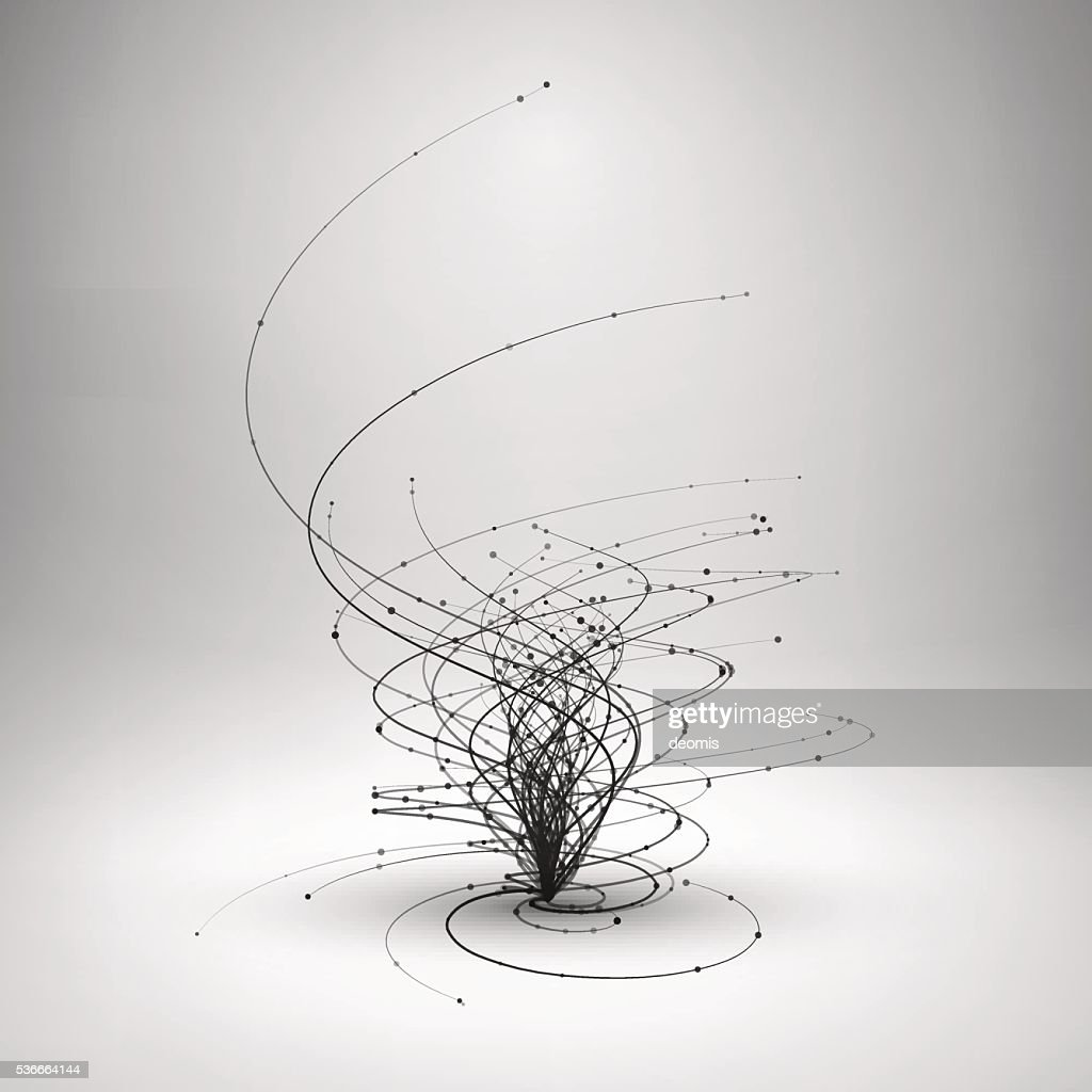 Tornado. Swirl with connected line and dots.