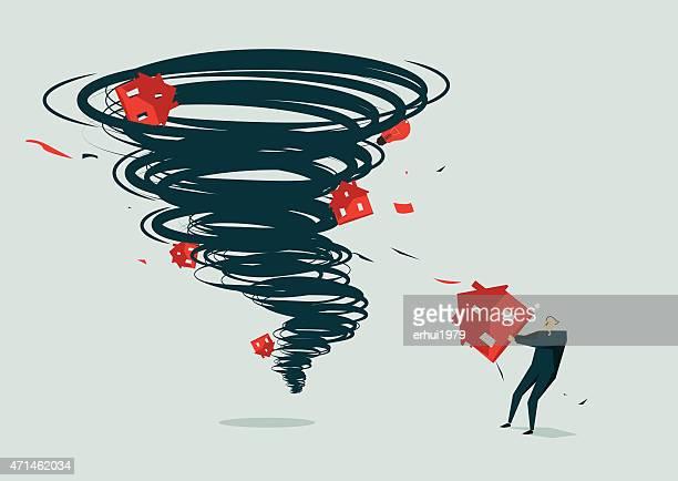 tornado-illustration - hurricane stock illustrations, clip art, cartoons, & icons