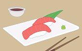 Toro sushi, fatty bluefin tuna belly sushi