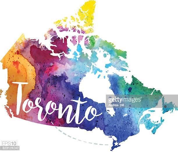 Toronto, Canada Vector Watercolor Map