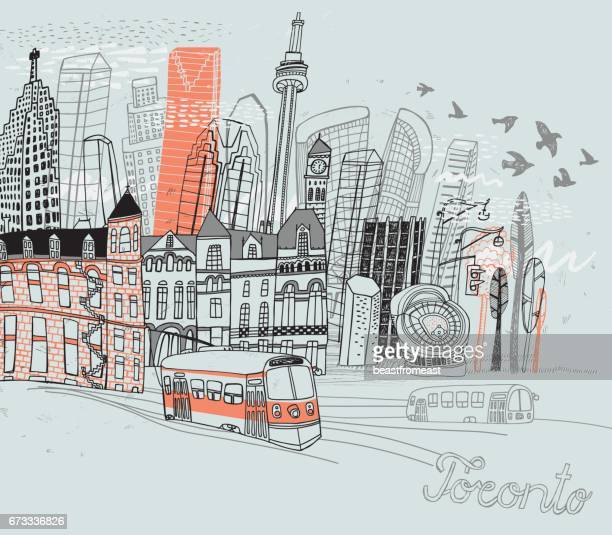 toronto city in canada - toronto stock illustrations