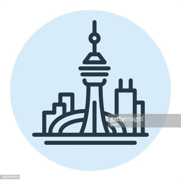 Toronto Skyline - Pixel perfekt Single Line-Symbol