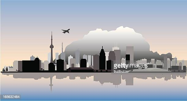 toronto vector cityscape with water reflection - buzbuzzer stock illustrations