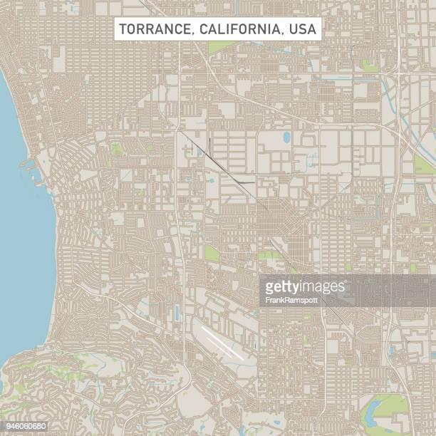 torrance california us city street map - torrance stock illustrations