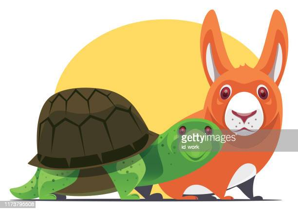 tortoise and rabbit gathering - two animals stock illustrations