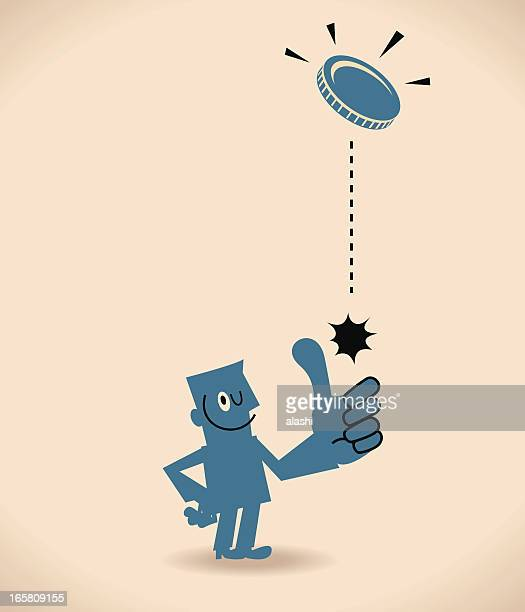 toss up - flipping a coin stock illustrations