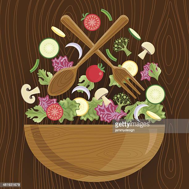 tossed salad - broccoli stock illustrations, clip art, cartoons, & icons