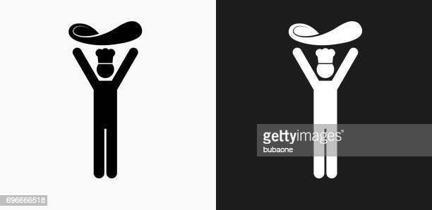 ilustrações de stock, clip art, desenhos animados e ícones de tossing dough icon on black and white vector backgrounds icon on black and white vector backgrounds - pizzaria