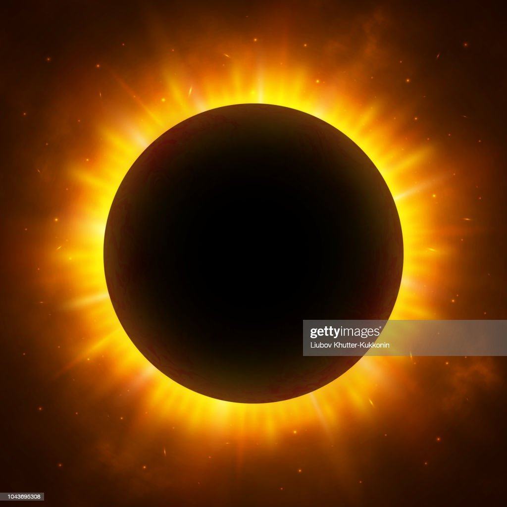 Total eclipse of the Sun with corona. Solar eclipse. Bright red star light shine from the edges of a planet. Space background. Vector Illustration