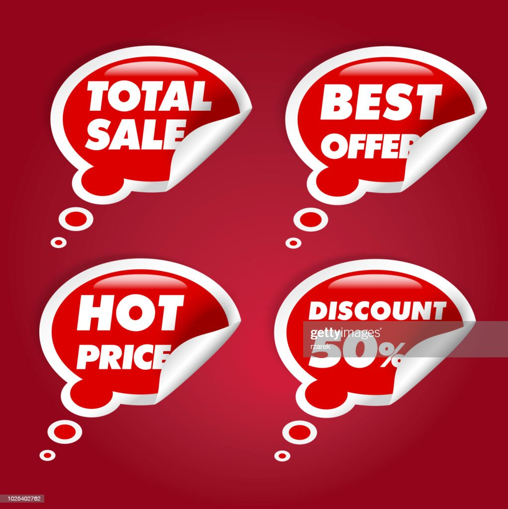 Total sale, hot price, best offer, discount, speech bubbles set.