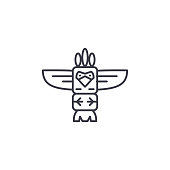 Totem linear icon concept. Totem line vector sign, symbol, illustration.