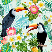 Toucan Bird. Tropical Flowers Background. Retro Seamless Pattern